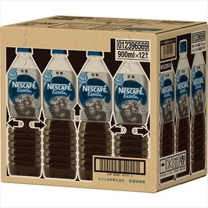 ネスカフェ エクセラ ボトルコーヒー 無糖 900ml×12本(1ケース)