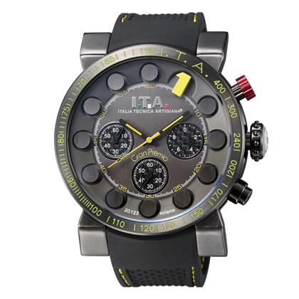 I.T.A.Gran Premio(グランプレミオ)ブラック・1インデックスイエロー・ブラックラバーストラップ