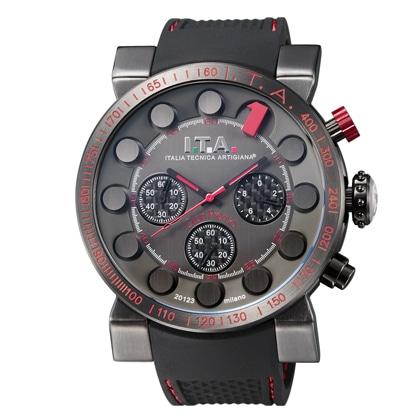 I.T.A.Gran Premio(グランプレミオ)ブラック文字盤・1インデックスレッド・ブラックラバーストラップ