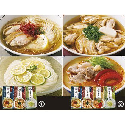 比内地鶏スープの稲庭うどん 4種