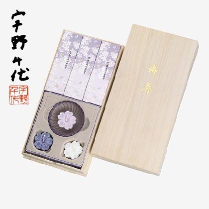 宇野千代のお線香淡墨の桜・浮きローソクセット(桐箱入)