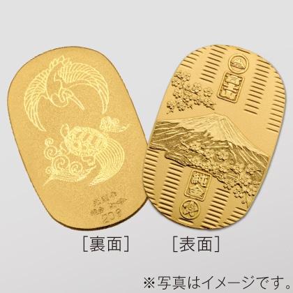 〈光則作〉純金製 富士桜小判 (小・鶴亀)